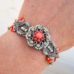 Micro Macrame Orange Button Bracelet 5
