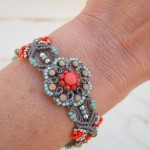 Micro Macrame Orange Button Bracelet 2