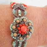 Micro Macrame Orange Button Bracelet 1