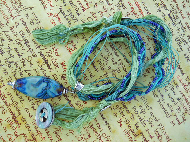 IBN Sea Challenge Waves Necklace Full View by The Beading Yogini