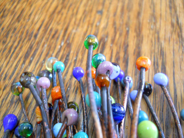 BTW CLose up Glass Copper Headpins by The Beading Yogini
