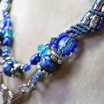 Blue Straggler Necklace Close Up by The Beading Yogini