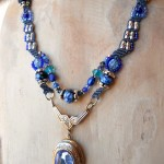 Blue Straggler Necklace Model by The Beading Yogini