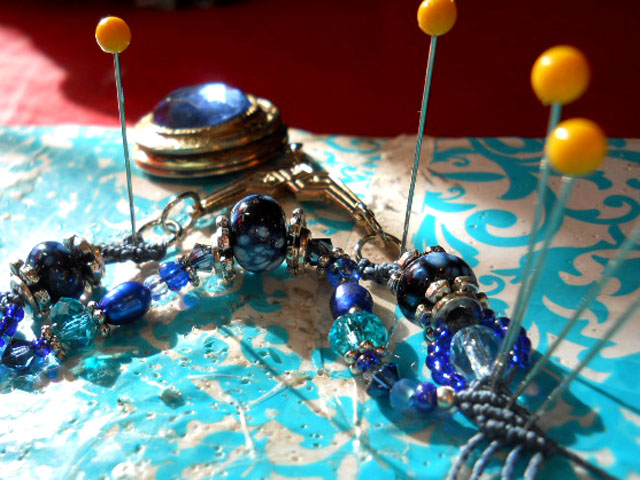 Blue Straggler Necklace Under Construction by The Beading Yogini