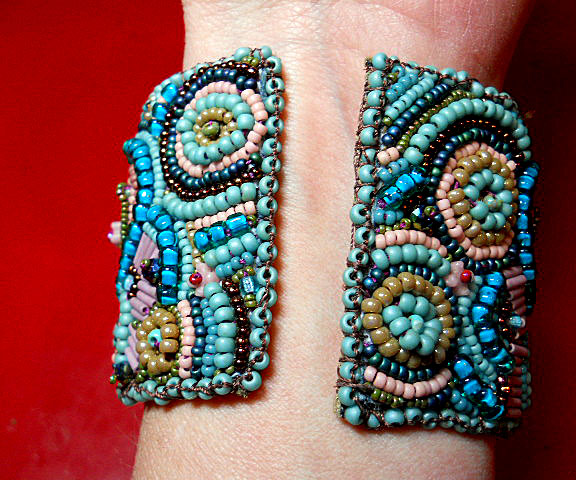 Challenge of Color Seed Bead Ebroidered Cuff Bracelet by The Beading Yogini