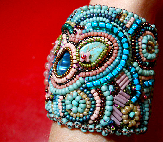 Challenge of Color Seed Bead Embroidered Cuff by The Beading Yogini