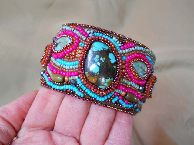 Turquoise Stone Cuff 2 by The Beading Yogini