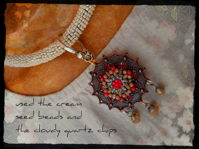 Cream Poppy Necklace Side 2 by The Beading Yogini