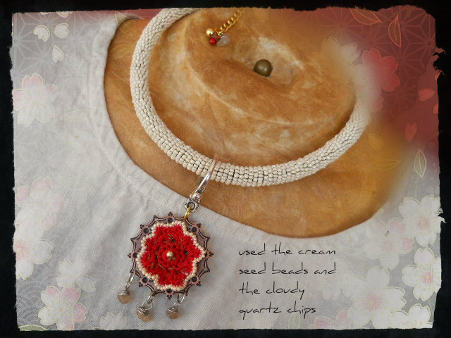 Cream Poppy Necklace Side 1 by The Beading Yogini