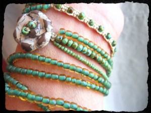 Button Challenge Bracelet Strands by The Beading Yogini