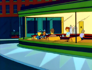 Nighthawks reference with Simpsons Characters