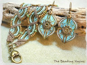 Double Wave Bracelet and Tin Earring Set by The Beading Yogini