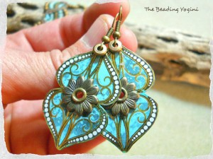 Turquoise Tin Earrings by The Beading Yogini