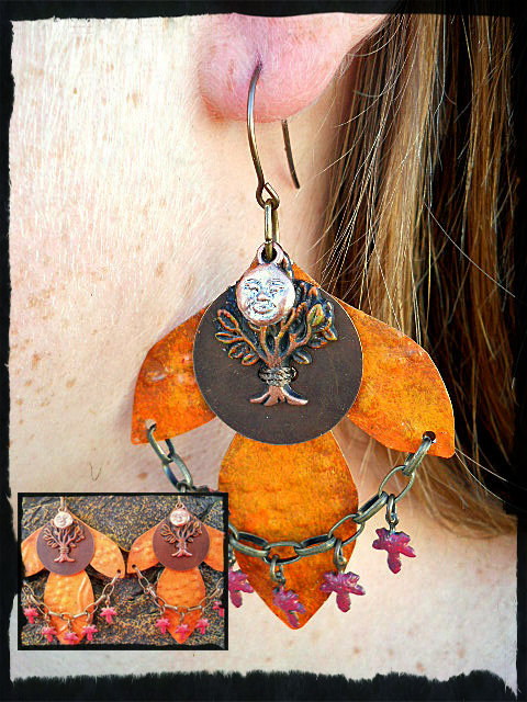 Earrings Vintaj Harvest Moon Challenge by The Beading Yogini