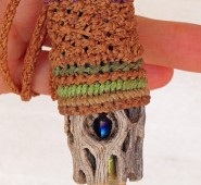 Micro macrame cholla crystal close up by the Beading Yogini