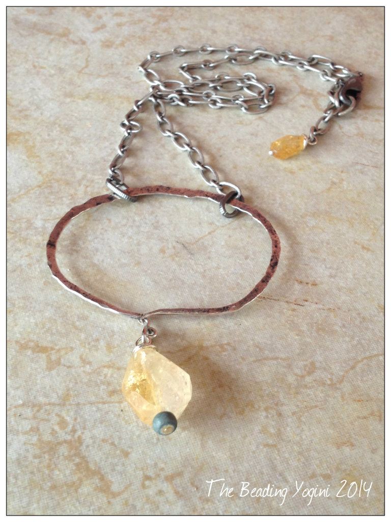 hammererd citrine necklace by The Beading Yogini