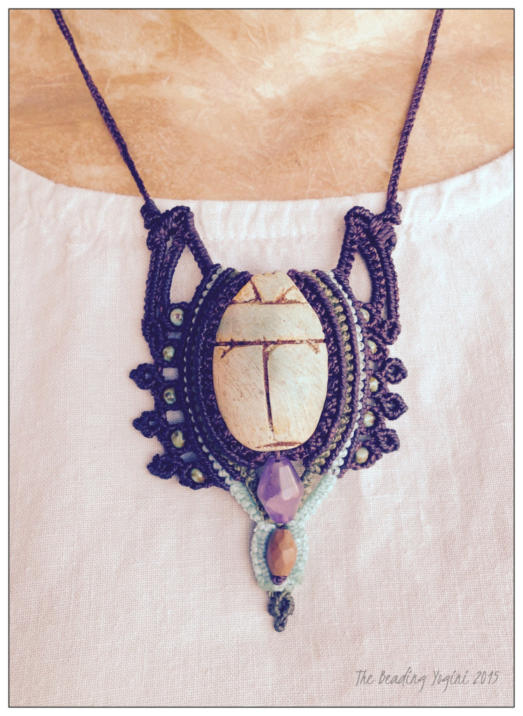 Macrame Scarab Necklace by The Beading Yogini 2015