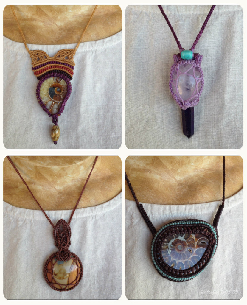 Ammonite Macrame Necklace Collage by The Beading Yogini