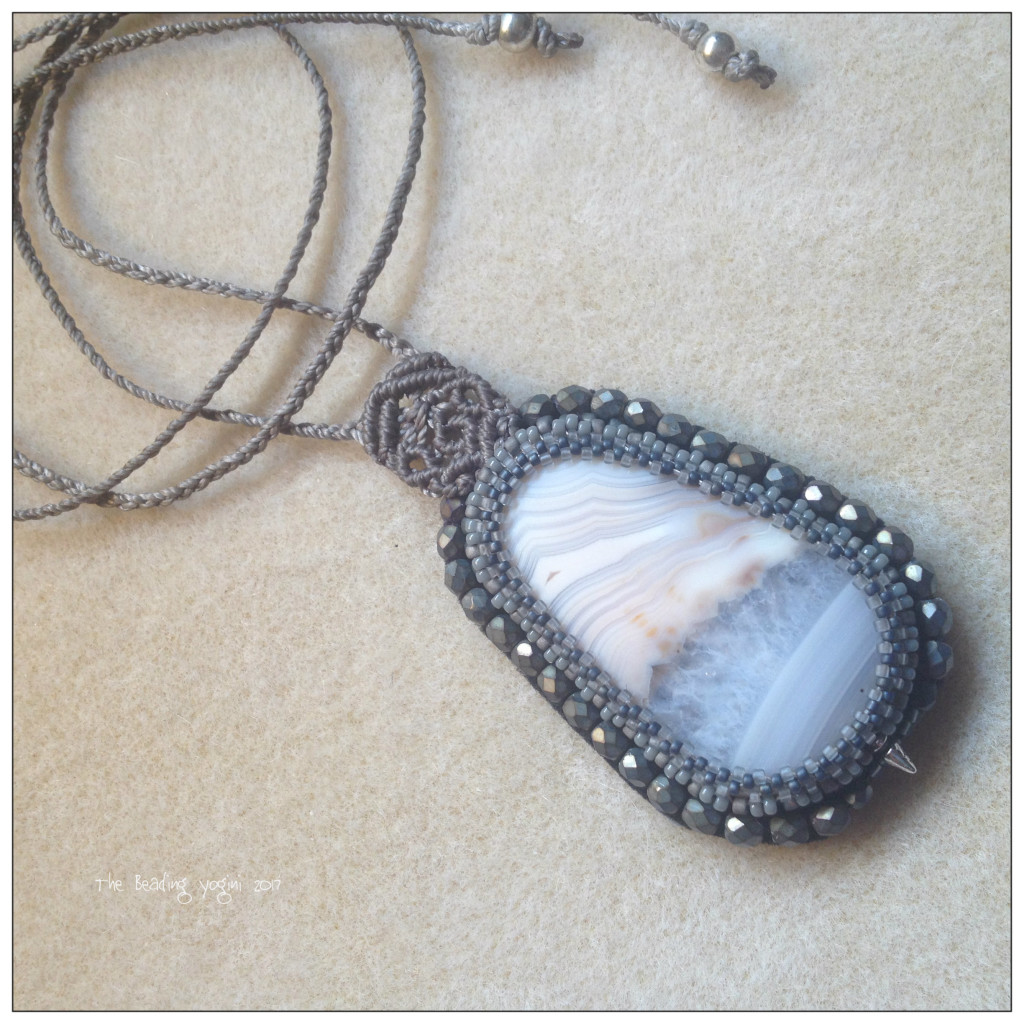 Grey Micromacrame and Peyoted Stich Bezel by The BEading Yogini 2017
